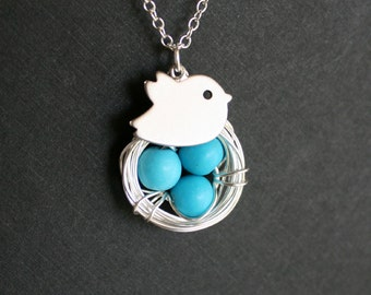 Mom's necklace, Blue bird nest necklace, turquoise eggs, Customized initial Bird, SILVER- Super Cute! Delicate jewelry, gift for her
