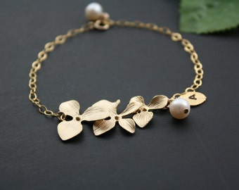 Delicate Orchid Flower Bracelet with Elegant freshwater pearl and Customized Initial leaf - Available Gold and Silver, wedding Bracelet gift