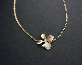 Single Orchid Necklace - 14K gold filled, simple flower necklace, wedding bridal jewelry, birthday bridesmaid gift, mom Mothers day gifts