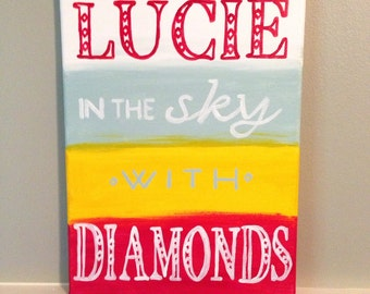 """Lucy in the Sky with Diamonds the Beatles- nursery art, girls room painting- 9""""x12"""" painting on canvas"""