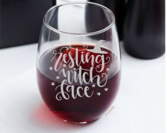 0a011cc3049 Resting Witch Face - choice of deep etched glassware - Free Personalization  - witch pagan kitchen halloween drinkware mug beer wine