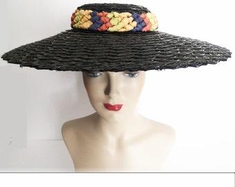 Vintage 1940s Hat//Large Brim//Braided Headband//Multi Colorored Ribbons//40 Hat//