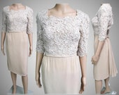 Vintage 1950s Dress Paul Parnes 50s Dress Creme Designer New Look Mod Wiggle Party Dress Rockabilly Cocktail Dress