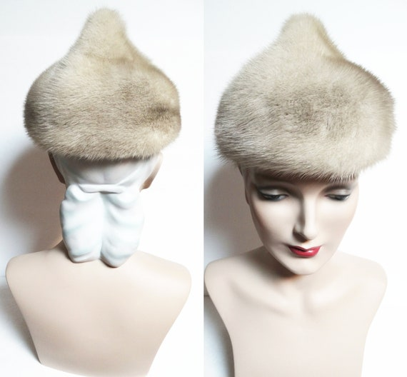 Vintage Mink Fur Hat / Taupe Color / 1960s Real Fu