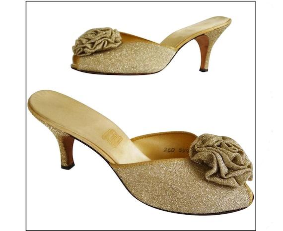 Vintage Daniel Green Slippers//Gold Shimmer//Boudo