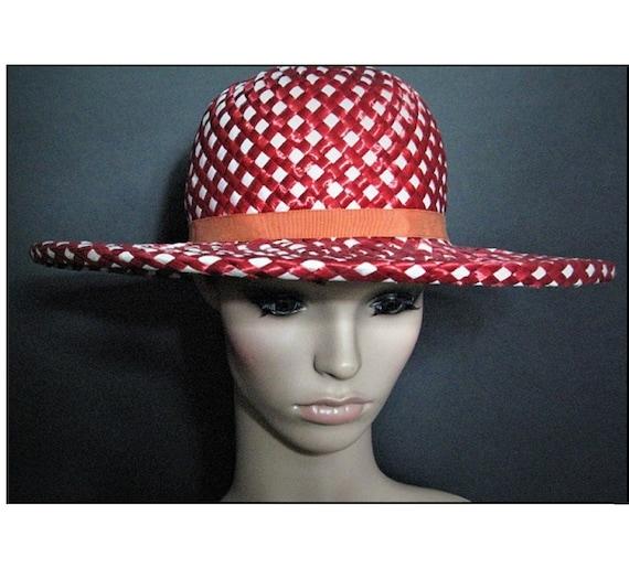Vintage 1950's Hat / Designer ADOLFO  / Red / Stra