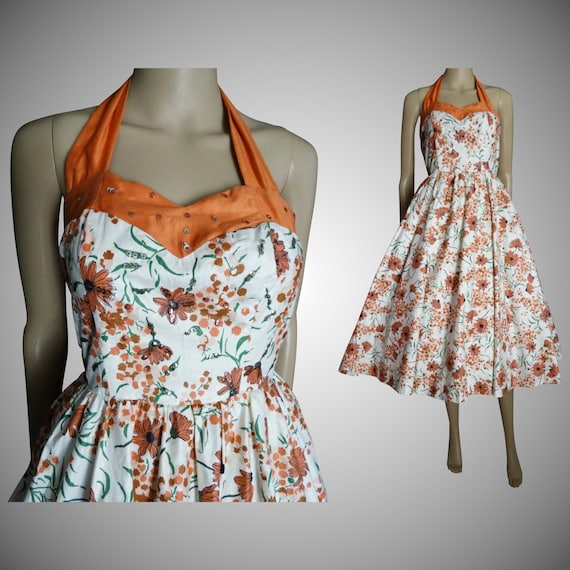 Vintage 1950s Halter Dress //50s Dress//Mod //New