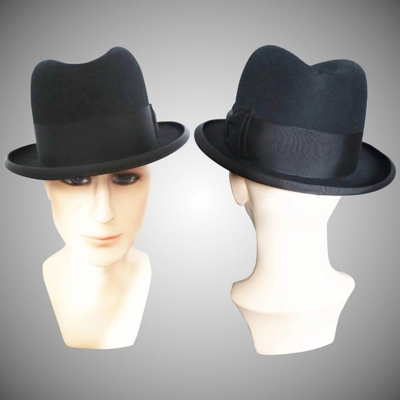 84564e82d4b4e Vintage Royal Stetson Fedora Hat | Royal Stetson Hat | Fedora Hat |  Gangster Hat | Black Fedora Hat | 1950s Royal Stetson Hat