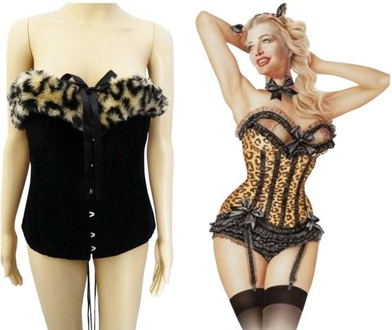 Vintage Bustier - Faux Leopard Print, Burlesque Bu