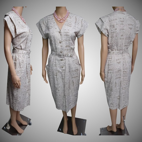 Vintage 1950s Dress | 50s Retro Dress | Designer D