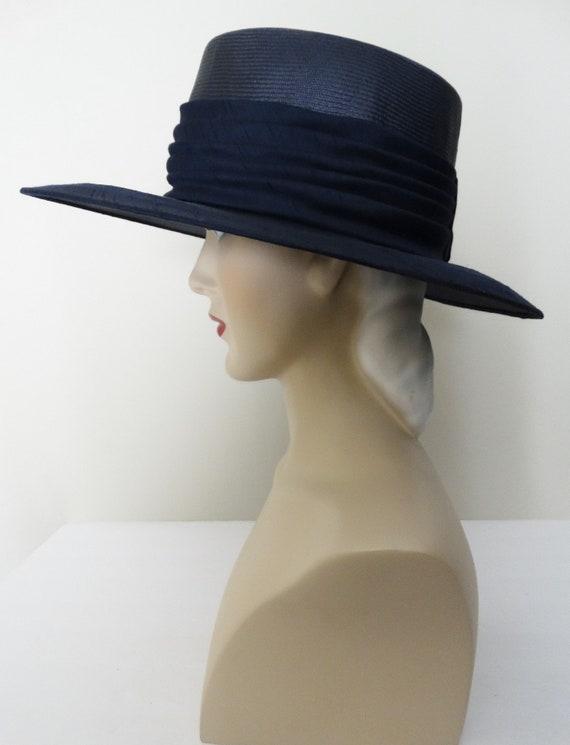Vintage 1950s Hat - 50s Navy Blue Hat, Mr. Johns,… - image 6