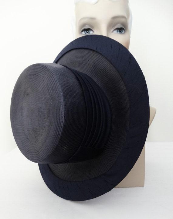 Vintage 1950s Hat - 50s Navy Blue Hat, Mr. Johns,… - image 4