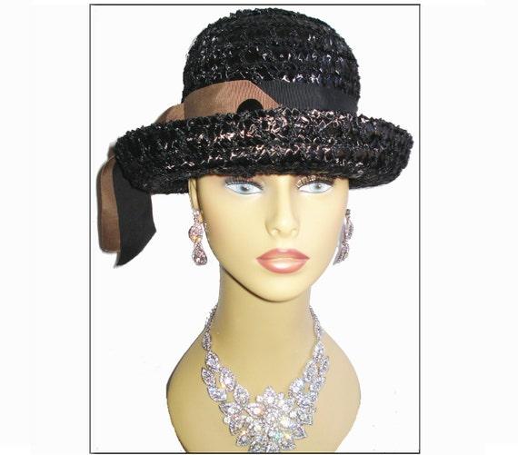 Vintage 1960s Hat Raffia Femme Fatale Couture Mad