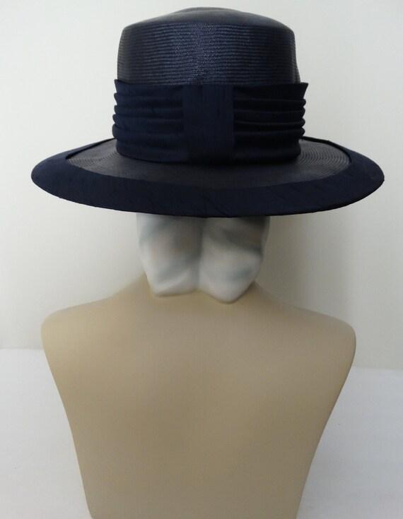 Vintage 1950s Hat - 50s Navy Blue Hat, Mr. Johns,… - image 3