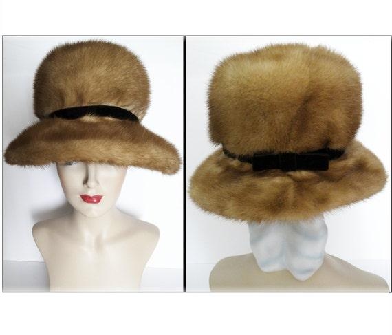 Vintage Mink Hat//1960s Mink Hat//1960s Hat//A. He