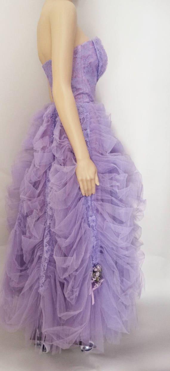Vintage 1940s Formal Gown | Lavender | Strapless … - image 7