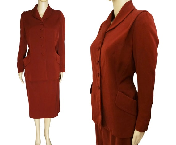 1940s Dark Red Gabardine Suit | 1940s Dark Red Sui