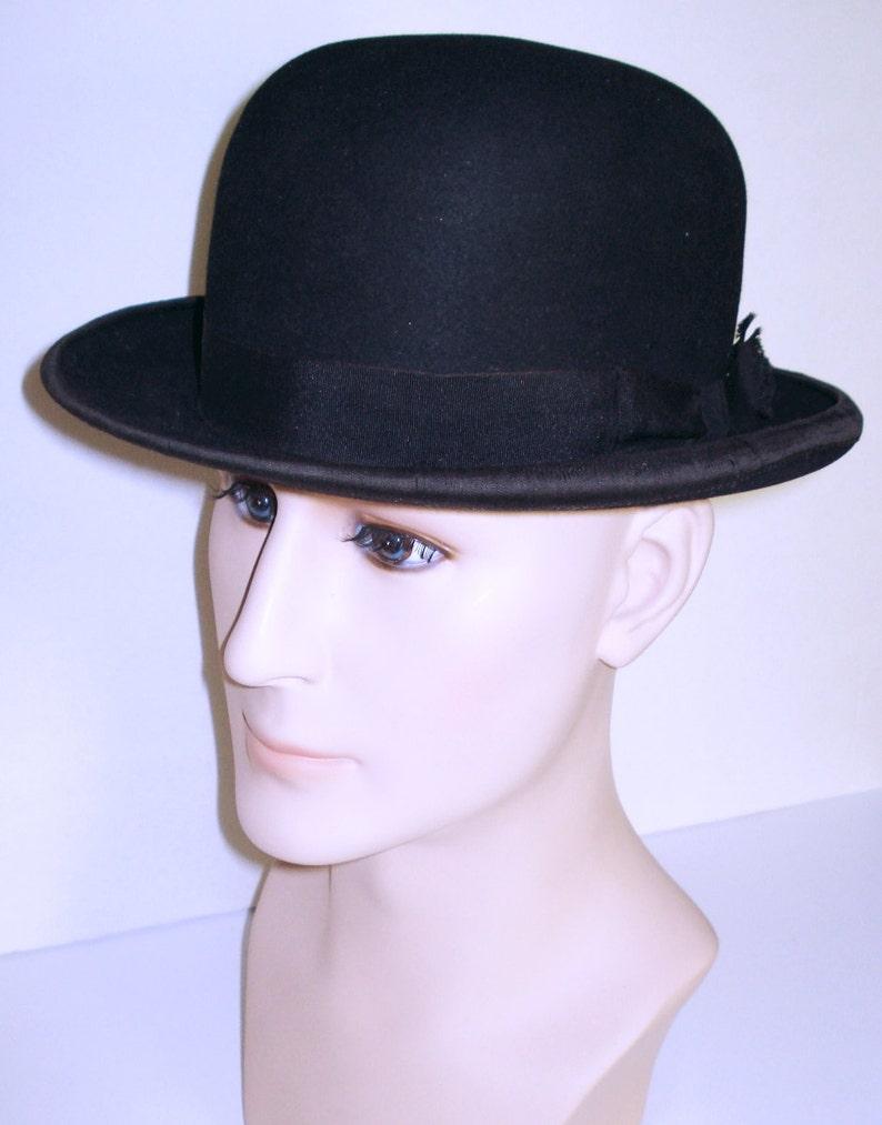 0a59ba8e32779 1930 S Black Derby Bowler Hat . Vintage Fedora Men s