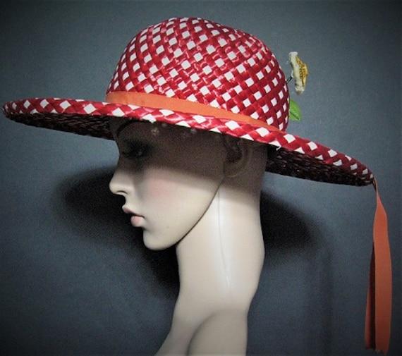 Vintage 1950's Hat / Designer ADOLFO  / Red / Str… - image 2