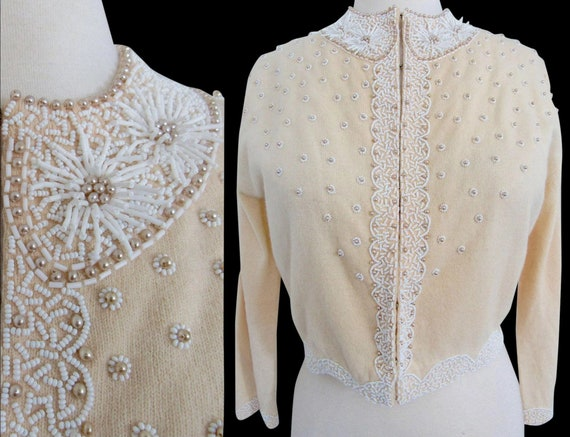 1950's Beaded Sweater//50's Cardigan//Faux Pearls/