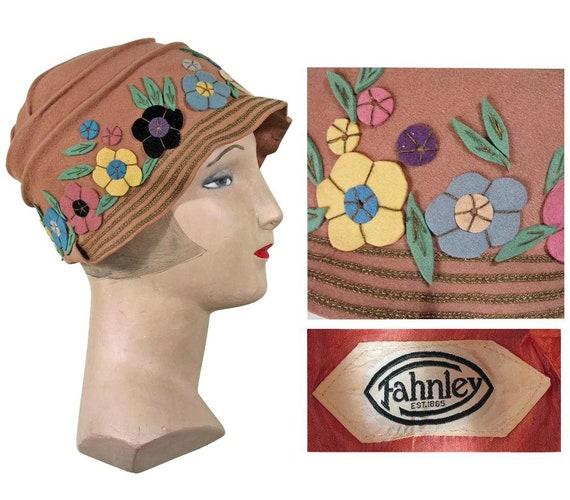 Vintage 1920s Hat | Colorful Felt Flowers | Marked