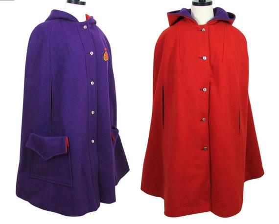 Vintage Reversible Cape   Red   Purple   Reversibl