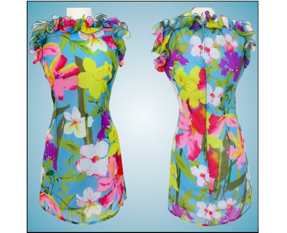 Vintage 1960s Dress  /  Bursting Colorful Florals