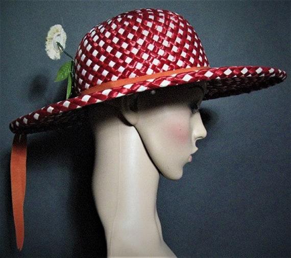 Vintage 1950's Hat / Designer ADOLFO  / Red / Str… - image 3