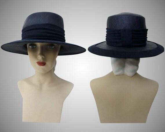 Vintage 1950s Hat - 50s Navy Blue Hat, Mr. Johns,… - image 8