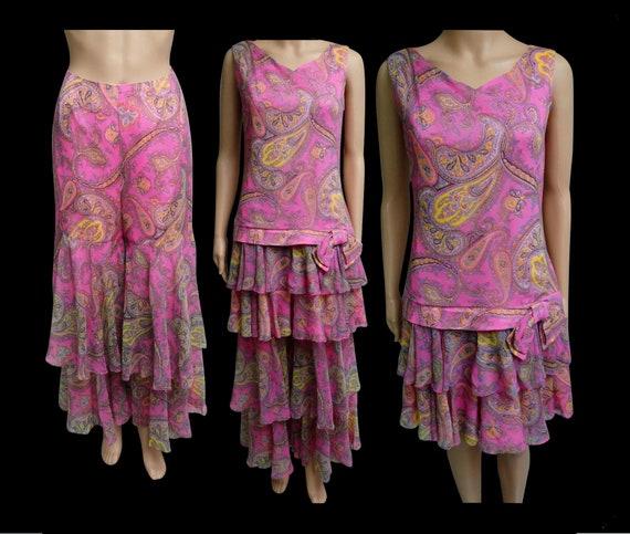 Vintage 1960s Dress   Paisley Print Dress   Pink D