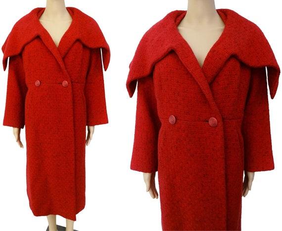 Vintage 1950s Coat   Red   Ben Zuckerman   Huge Sh