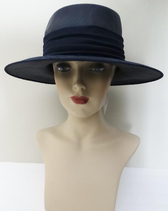 Vintage 1950s Hat - 50s Navy Blue Hat, Mr. Johns,… - image 2
