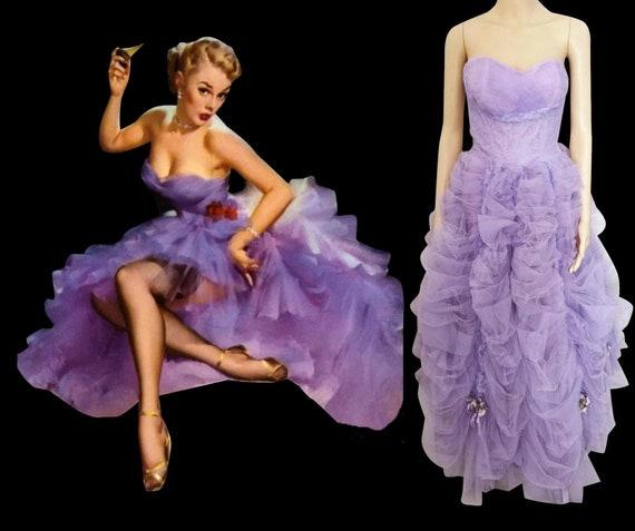 Vintage 1940s Formal Gown | Lavender | Strapless |
