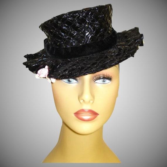 Designer 1930s Hat Tilt Couture Art Deco Black