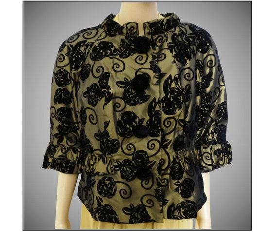 Vintage Floral Flocked Jacket | Black Flocked Flow