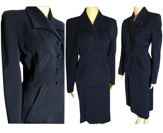 1940s Suit // Franklin Simon  Gabardine Suit // vi