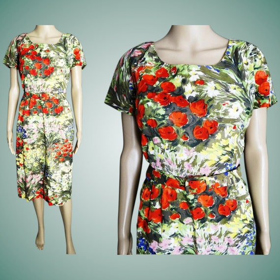 Vintage 1950s Dress // 50s Dress //  Floral Print