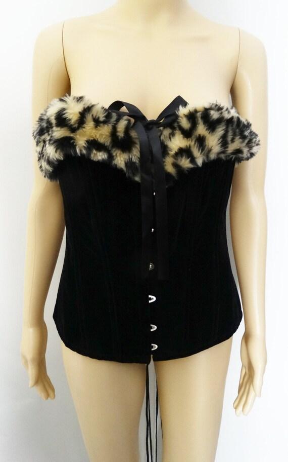 Vintage Bustier - Faux Leopard Print, Burlesque B… - image 4
