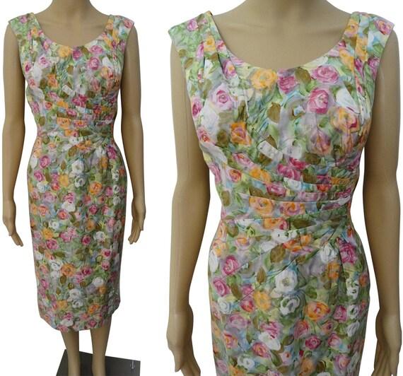 Vintage 1950s Dress | Floral Dress | Designer Alix