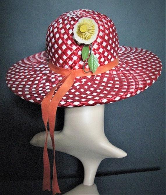 Vintage 1950's Hat / Designer ADOLFO  / Red / Str… - image 5