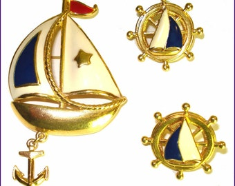 Vintage Enameled Sailboat Brooch Pin Matching Earrings Nautical Garden Party Mad Men Rockabilly Retro Designer Cocktail Dress Gown Suit Coat