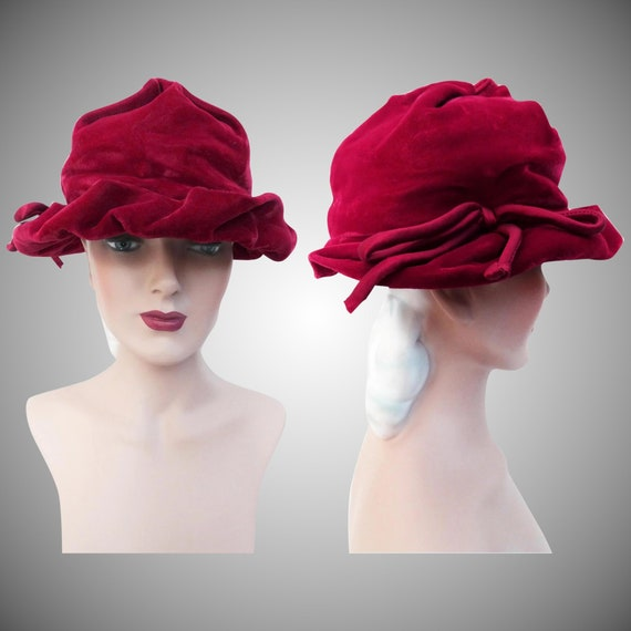Vintage 1940s Hat | Raspberry Color | Rockabilly H