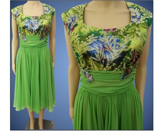Vintage 1950s Dress   Peggy Hunt   Chiffon   Broc… - image 2