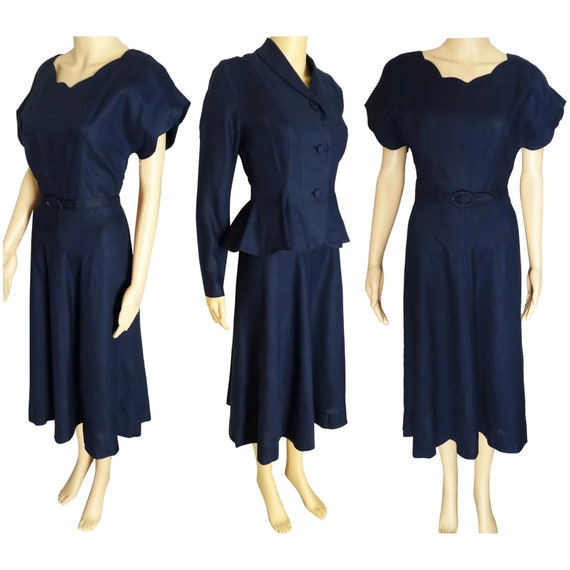 1940s Dress - Vintage 40s Dress - Navy Blue Fitted