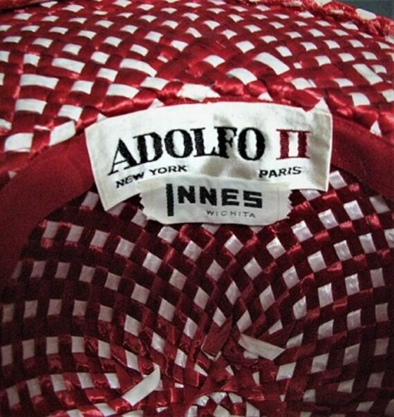 Vintage 1950's Hat / Designer ADOLFO  / Red / Str… - image 6