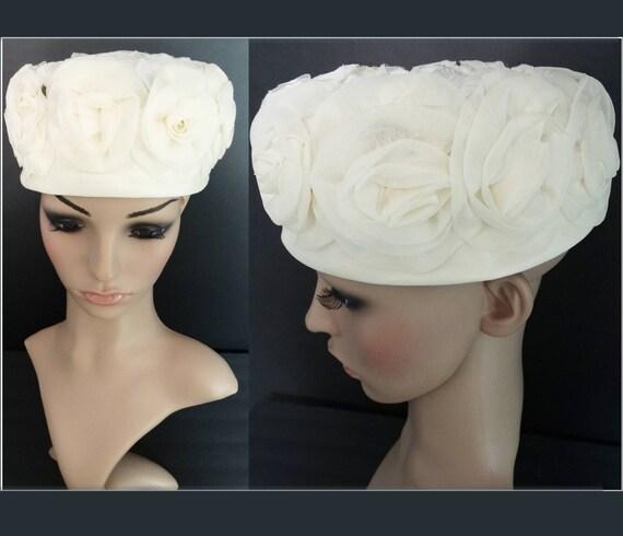 Vintage 1950s Hat | Floral Hat | Creme Hat | Desig