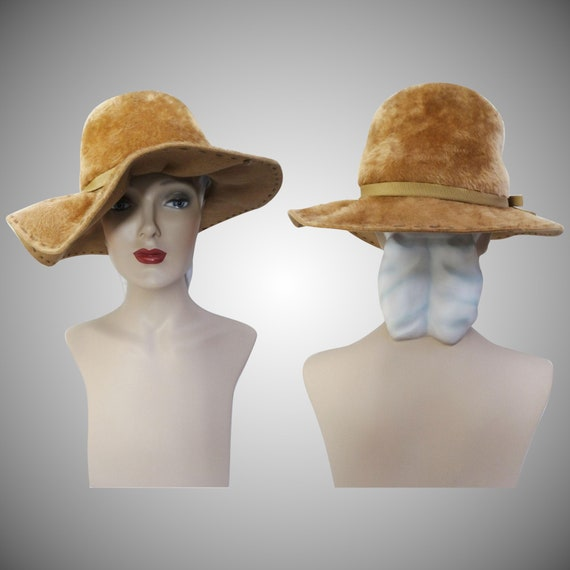 Vintage 1950s Hat | Tan Hat | Stylish 1950s Hat |