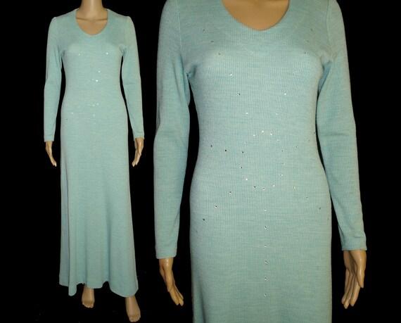 Vintage 1970s Dress .  Maxi  .   Rhinestones  .  F