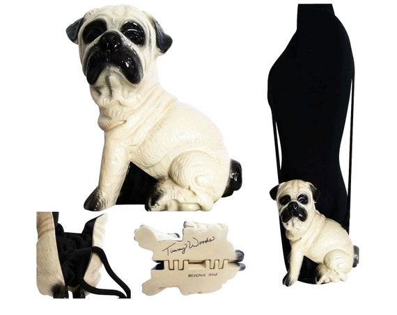 Timmy Woods Pug Dog Purse | Beige Dust Cover | Cer