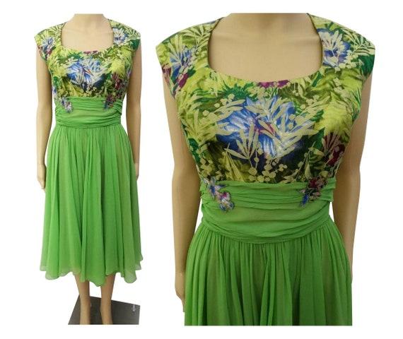 Vintage 1950s Dress | Peggy Hunt | Chiffon | Broca